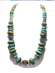 Turquoise Abacus Gemstone Necklace with Silver and Wood Beads