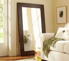 Totally making this floor mirror from the huge mirror Eric took down in the master bath. Then I will finally have something in my living room.Can't wait!!!   Benchwright Floor Mirror #potterybarn