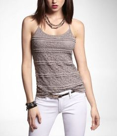 LACE RACERBACK CAMI at Express #ExpressJeans