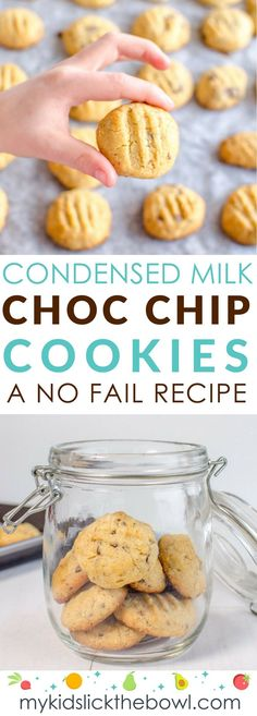 Condensed milk choc chip cookies, a sweet treat your kids will love, making chocolate chip cookies is the perfect childhood memory (easy chocolate fudge cake friends) Delicious Cookie Recipes, Milk Recipes, Yummy Cookies, Baking Recipes, Sweet Recipes, Dessert Recipes, Baby Recipes, Healthy Cookies, Desserts