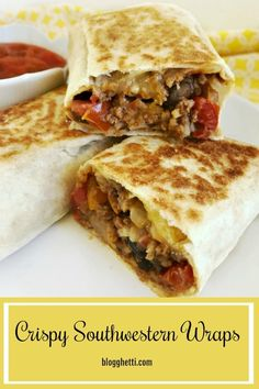Crispy Southwestern Wraps are an easy weeknight meal that is healthy and packed full of flavors. Dinner on the table in 30 minutes! Pot Roast Recipes, Easy Dinner Recipes, Slow Cooker Recipes, Beef Recipes, Easy Recipes, Dinner Ideas, Easy Weeknight Meals, Easy Meals, Good Food