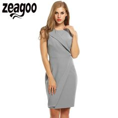 Zeagoo Elegant Summer Dress Casual O-Neck Sleeveless High Waist Solid Bodycon Dresses Sheath Work Vestidos With Lining Plus Size #Affiliate