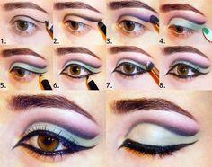 Passo a passo de maquiagem dos olhos.  Lilac-azul da composição do olho alado