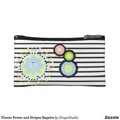 Shop Flower Power and Stripes Bagette Cosmetic Bag created by DrapeStudio. Flower Girl Gifts, Personalized Wedding Gifts, Feeling Special, On Your Wedding Day, Bridesmaid Gifts, Cosmetic Bag, Flower Power, Little Girls, Stripes