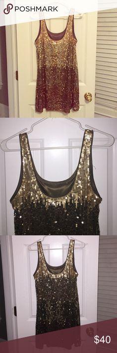 Express gold sequin dress Gold sequin dress - never worn Express Dresses Mini