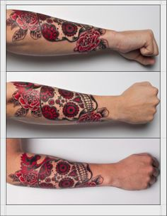 Sugar skull tattoo. I would so do this! But I don't want a huge tattoo though.