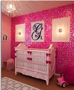 Color Paint in Modern Baby Room Ideas for Girls : I kinda like this but so much Pink, I dunno. I wouldn't wanna force her in to liking pink. My mom always dressed me up all frilly and I hated it