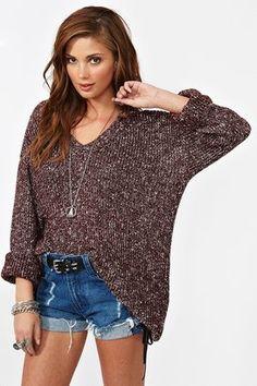 ShopStyle: Nasty GalMaddy Oversized Knit - Burgundy