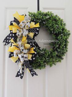 Handmade Bumble bee wreath bows.