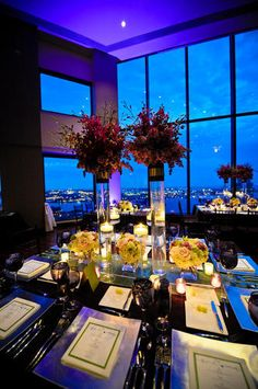 Malloy Events at the State Room, Boston MA. tall centerpieces