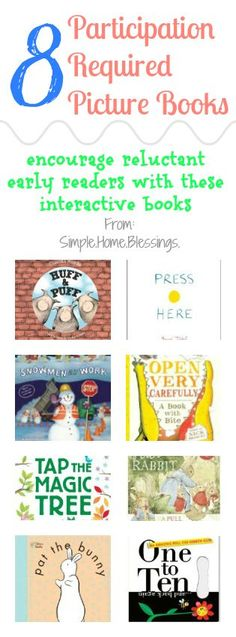 """Participation Required Picture Books - interactive books for any reader (especially reluctant ones). My kids are obsessed with books, but they do love """"participating"""" in stories! Preschool Literacy, Preschool Books, Early Literacy, Literacy Activities, Kindergarten, Interactive Books For Preschoolers, Preschool Ideas, Kids Reading, Reading Activities"""