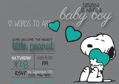 CUSTOM Snoopy Baby Shower Invitations Boy or Girl by WordsToArt, $9.00