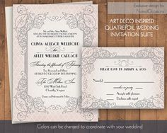 Great Gatsby Art Deco Theme Wedding Invitation by NotedOccasions
