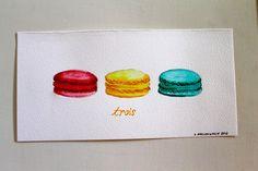 Trois, watercolor on paper by The Blue Studio, Lauren MacLaughlin