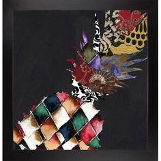 Bloomsbury Market 'Pineapple Brocade II' Graphic Art Print Format: Affordable Black Large Framed Paper