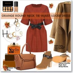 How To Wear Orange Round Neck Tie-Waist Loose Dress 8. Outfit Idea 2017 - Fashion Trends Ready To Wear For Plus Size, Curvy Women Over 20, 30, 40, 50