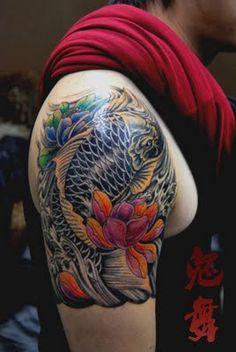colorful #KOI fish #tattoo design