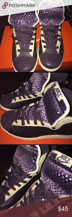 Women's Nike Purple Glitter Blazers Size 8 Perfect Condition Women's Size 8 All purple light purple sequins on the tongue of the shoe detailed in cream Nike Shoes Sneakers