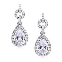 GULICX Ladies Jewelry Made with Zircon Swarovski Element Crystal White Drop Earrings Dangle Bridesmaid ** Read more details by clicking on the image. #Earrings