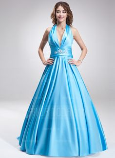 Special Occasion Dresses - $146.99 - A-Line/Princess Halter Sweep Train Satin Prom Dress With Ruffle Beading (018002743) http://amormoda.com/A-line-Princess-Halter-Sweep-Train-Satin-Prom-Dress-With-Ruffle-Beading-018002743-g2743