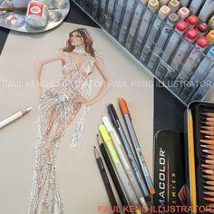 Illustration by Paul Keng Illustration Mode, Fashion Illustration Sketches, Fashion Sketchbook, Fashion Design Sketches, Drag Dresses, Fashion Art, Fashion Models, Fashion Model Drawing, Vogue Patterns