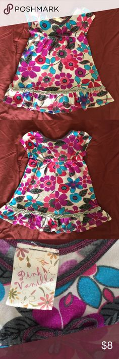 Pink Vanilla toddler girls pretty floral dress This is a lovely dress in all over pretty floral print, with cap sleeves, ruffled hem, and cute bow at the front. Worn a few times but still in good condition. Pink Vanilla Dresses Casual