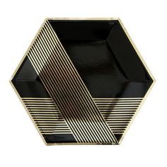 """These elegant paper plates will make any occasion fancy. - Pack of 8 black plates with gold foil accents - Approx. 10.5"""" corner to corner"""