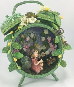 Cute metal alarm clock is the home of a cute magical fairy #whimsytouches.