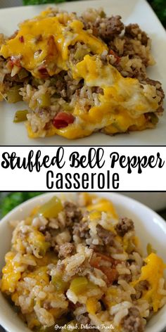 Stuffed Bell Pepper Casserole is an easy weeknight meal loaded with hamburger peppers rice seasoned perfectly and topped with cheese casserolerecipes stuffedbellpeppers dinnerrecipes beef onepot greatgrubdelicioustreats # Best Hamburger Casserole Recipes, Easy Casserole Recipes, Recipes With Hamburger And Rice, Crockpot Meals With Hamburger, Stuffed Hamburger Recipes, Stuffed Pepper Recipes, Supper Ideas With Hamburger, Healthy Hamburger Recipes, Healthy Stuffed Bell Peppers