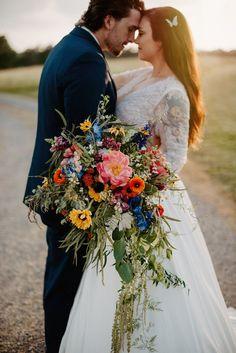 Wildflower Bridal Bouquets, Cascading Wedding Bouquets, Silk Bridal Bouquet, Cascade Bouquet, Bride Bouquets, Bridal Flowers, Flower Bouquet Wedding, Bridesmaid Bouquet, Floral Wedding
