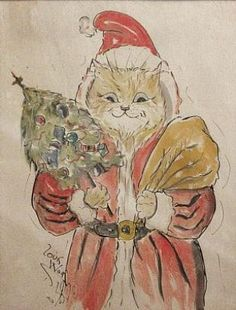 Christmas Cat original watercolour, United Kingdom, date unknown, by Louis Wain.