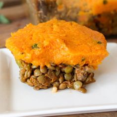 A comforting lentil and mushroom mix nestled beneath a creamy sweet potato and sage mash! Such a filling, satisfying, and tasty dish!