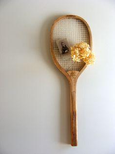 Tennis Racquet Wall Hanging.  gazaboo on etsy (28 dollars)
