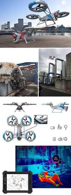 The Hornet drone is designed to perform supervision in large industrial plants, it can also perform an aerial observation to sense any danger or emergency.
