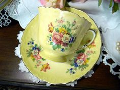 1930s Aynsley Yellow Teacup Tea Cup and Saucer by TheVintageTeacup