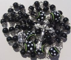 Rosary Prayer Necklace 8mm 14mm Black White Glass Beads by Bruce Silver Lampwork