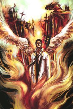 """""""Castiel in Fire,"""" by wuyemantou #supernatural #castiel"""