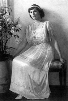 Grand Duchess Tatiana Nikolaevna of Russia (Tatiana Nikolaevna Romanova) was the second daughter of Tsar Nicholas II, the last monarch of Russia, and of Tsarina Alexandra. She was born at the Peterhof, Saint Petersburg.  She was better known than her three sisters during her lifetime and headed Red Cross committees during World War I.