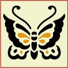 Asian Butterfly 1 Stencil -- x -- The Artful Stencil -- 10 mil Mylar, walls, pillows and sig