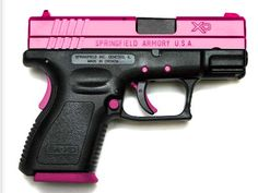 I want a 45 springfield xd colored like this!!! I love shooting jasons so my own pink one would be nice!!!