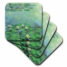 3dRose Water Lilies No 2 by Claude Monet, 1914-1917, Ceramic Tile Coasters, set of 4