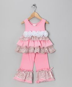 Take a look at this Pink Leopard Ruffle Tank & Pants - Toddler & Girls by One Posh Kid on #zulily today!