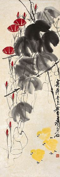 Qi Baishi, morning glory with chicken