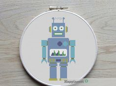 cross stitch pattern robot modern cross stitch PDF