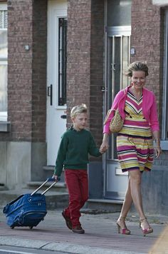 Queen Mathilde of Belgium bring her son Prince Emmanuel on the first day of school at the Eureka Institute of Kessel-Lo on 2 Sep 2013