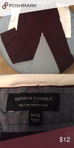 Banana Republic Pants Fulton Skinny Chino, Wine, Practically New Banana Republic Pants Chinos & Khakis