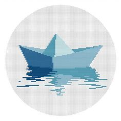 Instant download. Cross stitch pattern. Origami Boat. by Domcraft