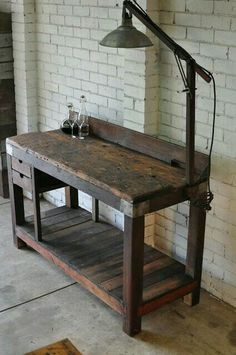 vintage industrial bench - This would be great in the kitchen as a rustic island. Decor, Furniture, Industrial Workbench, Industrial Furniture, Rustic Furniture, Woodworking Bench, Industrial Interiors, Vintage Furniture, Vintage Industrial Furniture