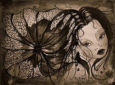 Manga girl (watercolour/ink)