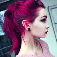 Kool-Aid Hair Dye: How to Color Your Hair Cheaply and Effectively But only parts of my hair, not all of it. Dark Pink Hair, Purple Hair, Burgundy Hair, Violet Hair, Pink Purple, Reddish Hair, Hot Pink Hair, Crimson Red Hair, Periwinkle Hair